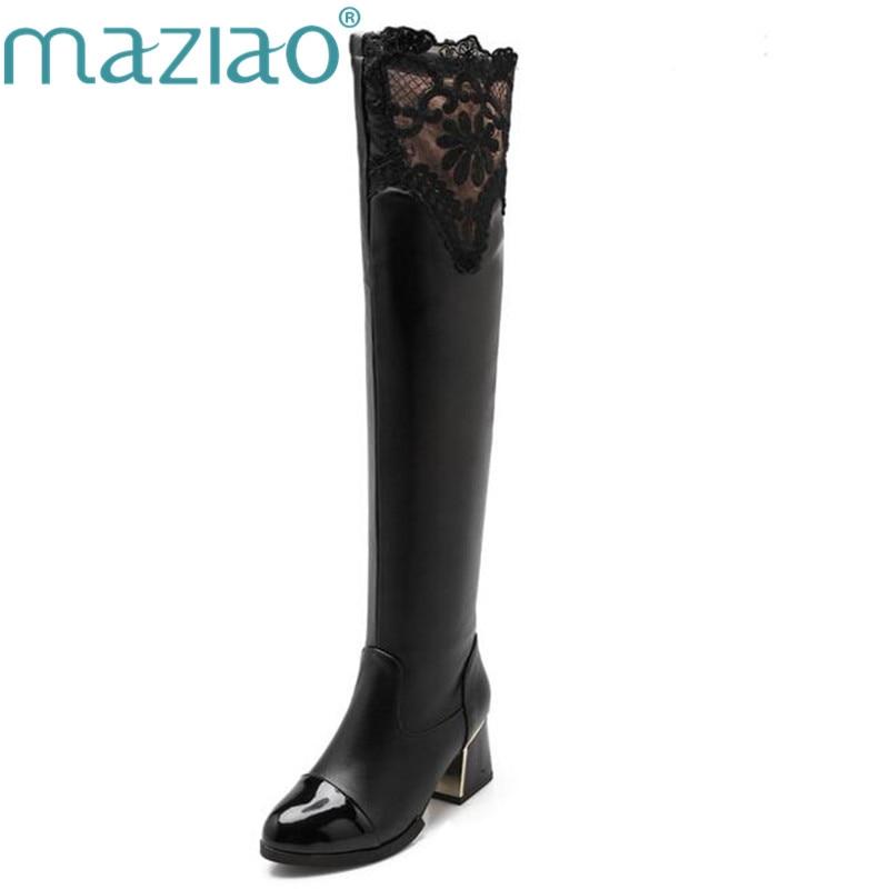 100% QualitäT Maziao 2018 Frauen Mode Sexy Stiefel Mit Hohen Absätzen über Das Knie Stiefel Stretch Stiefel Schwarz Weiße Stiefel Größe 34 -43 Senility VerzöGern