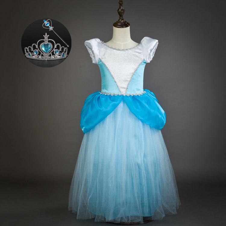 Vintage Kids Toddler New 3-10y Short Sleeve Cinderella Cosplay Costume Halloween Princess Child Party Dress Girl Set