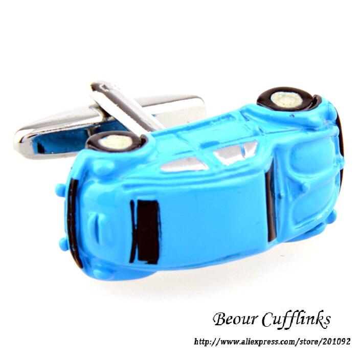 High Quality Cufflinks For Mens Shirts Wedding Cuff Links Blue Car Cufflinks 8193 Free Shipping