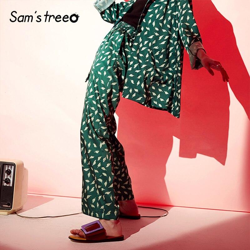 Samstree Green Leather Print Wide Leg Urban Gypsy Pants Women 2019 Autumn Loose Elastic Waist Boho Office Ladies Trousers