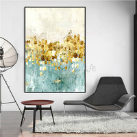 Gold art acrylic painting modern abstract texture Canvas painting qudraos cuadros decoracion Wall art Pictures for living room