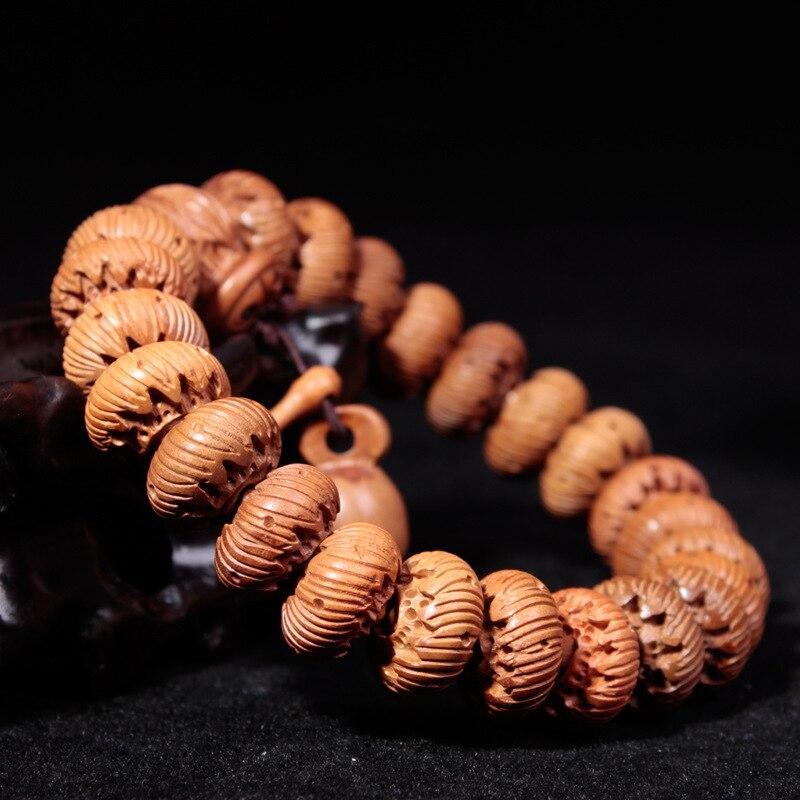 Bois de pêche sculpté naturel Lotus les perles d'animaux sauvages mythiques Bracelet bouddha bijoux de poisson en bois perles de prière bijoux pour hommes
