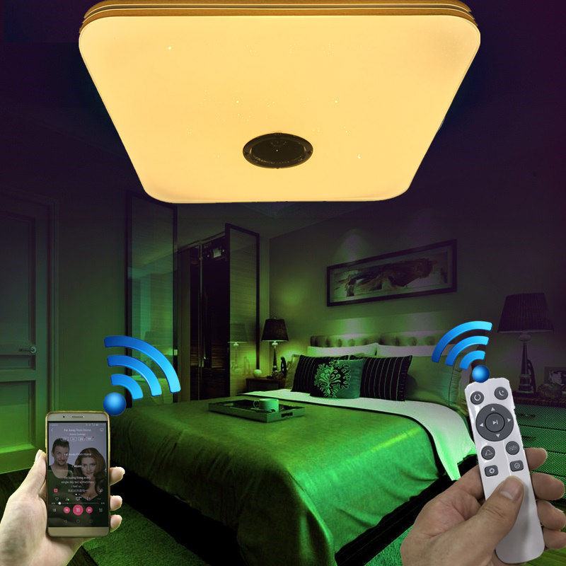 NEW Modern Bluetooth Music Play LED Ceiling Light With 2.4G RF Remote Control Dimmable Color Change Lamp For Livingroom Bedroom keyshare dual bulb night vision led light kit for remote control drones