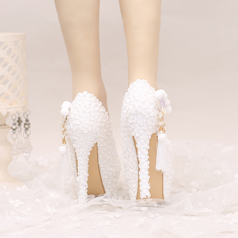 White Lace Wedding Shoes Platforms Beautiful Women Pumps with Appliques  Tassel Gorgeous Design Bridal Party Prom Shoes-in Women s Pumps from Shoes  on ... badfa250852d