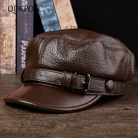 QDKPOTC High Quality Middle aged Men's Baseball Cap Genuine Leather Autumn Winter Flat Caps Adult Dad Hats Military Hat