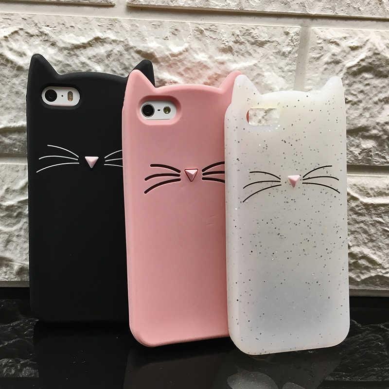 3b8305874c94e1 5 S Case Cover For Iphone 5 5S Cute silicone 3D Glitter Soft TPU Cat Phone