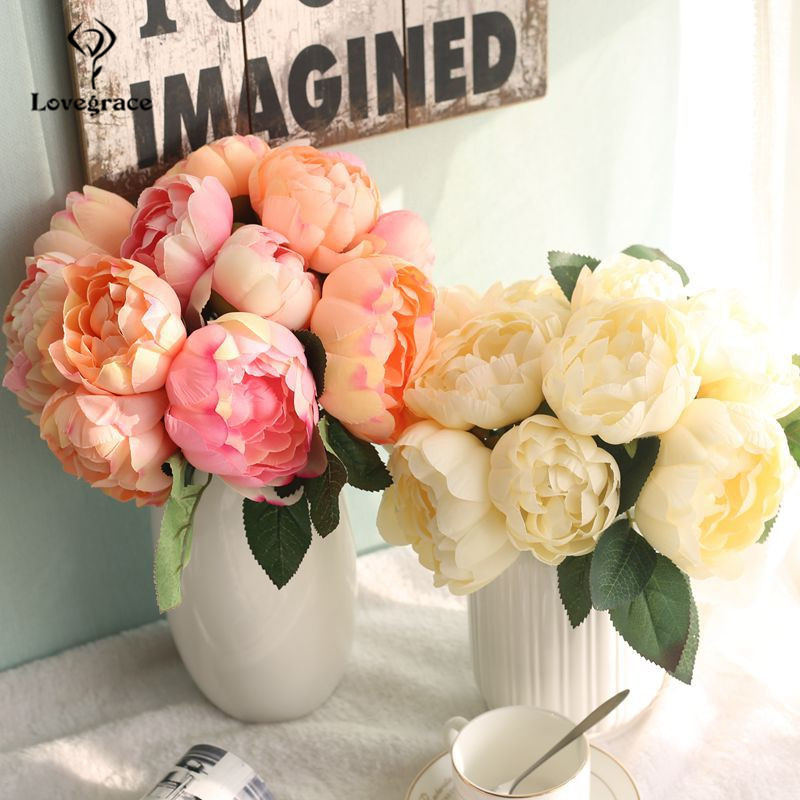 6 Heads Round Peony Wedding Bridal Bouquet Blue Artificial Flowers Pink Silk Rose Flower For Wedding Home Party Decoration Flore