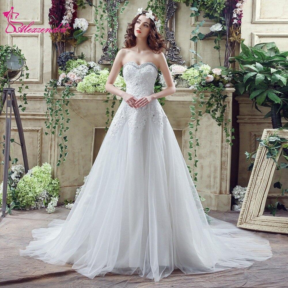 Alexzendra Stock Robes Une Ligne Perlée Robe De Mariée Chérie Élégant Robes De Mariée Prêt à Expédier