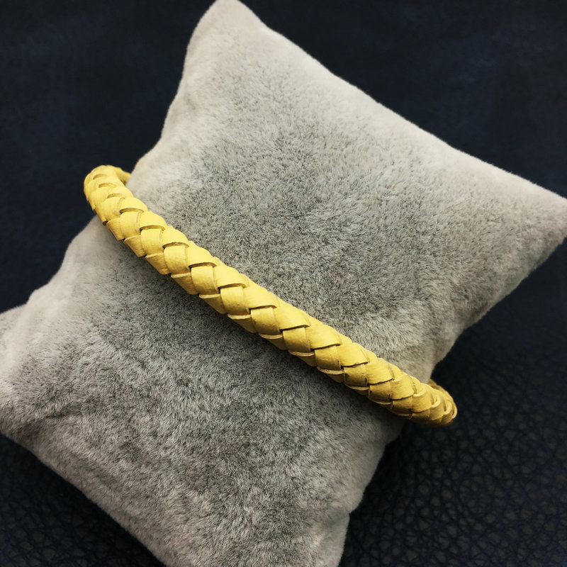 Yellow Leather Bracelet with Rainbow Magnet Buckle