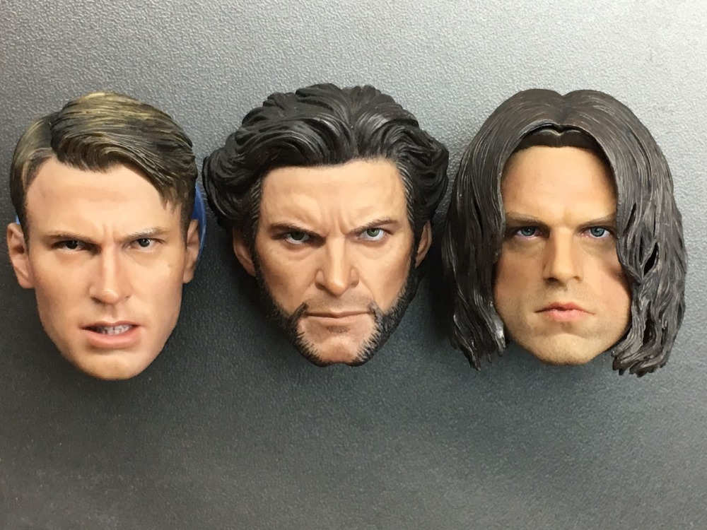 1/6 Scale Captain Wolverine and Winter Soldier Bucky Head Models for 12 Inches Figures <font><b>Bodies</b></font> image