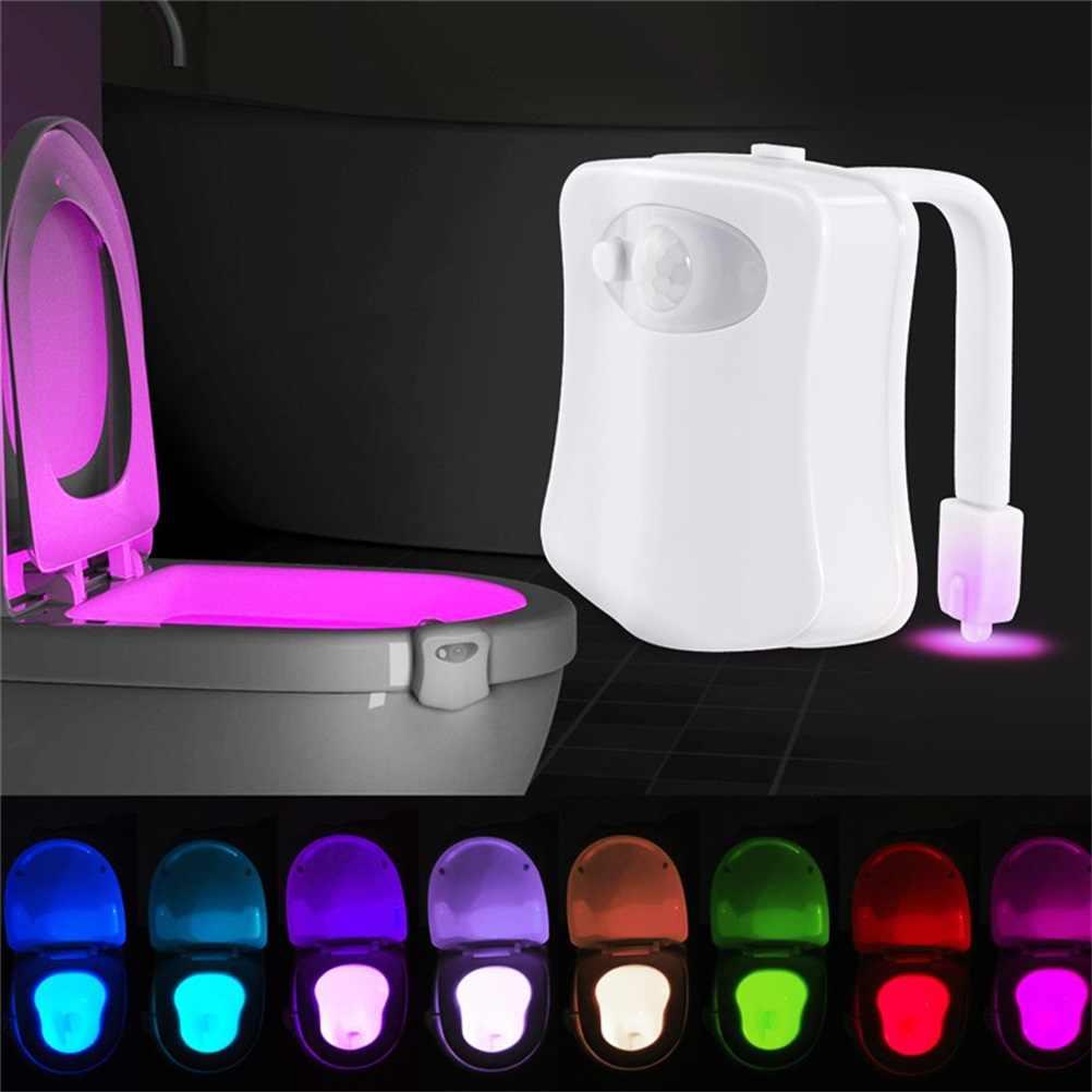 Sensor de movimento inteligente assento do banheiro luz noturna 8 cores à prova dbacklight água luz de fundo para vaso sanitário bacia led luminaria lâmpada wc luz