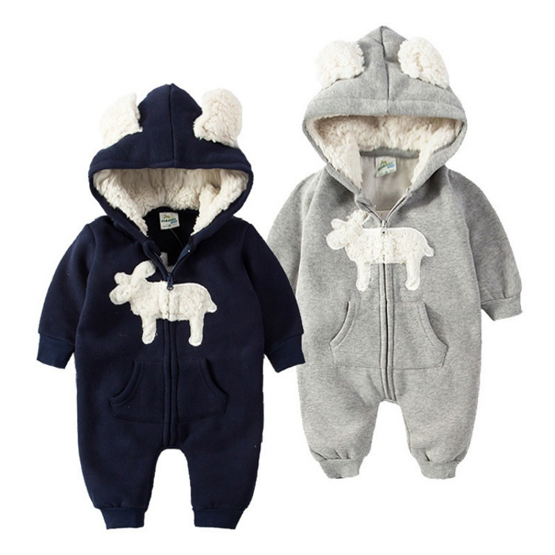 Winter Plush Baby   Rompers   Cute Ear Hooded Fleece Jumpsuit Warm Baby Girl Overalls Newborn BabyBoy   Rompers