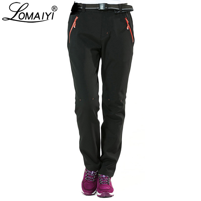 LOMAIYI Women's Winter Pants Women Thick Warm Fleece Lining Trousers Female Stretch Snow Waterproof Black Palazzo Pants AW071