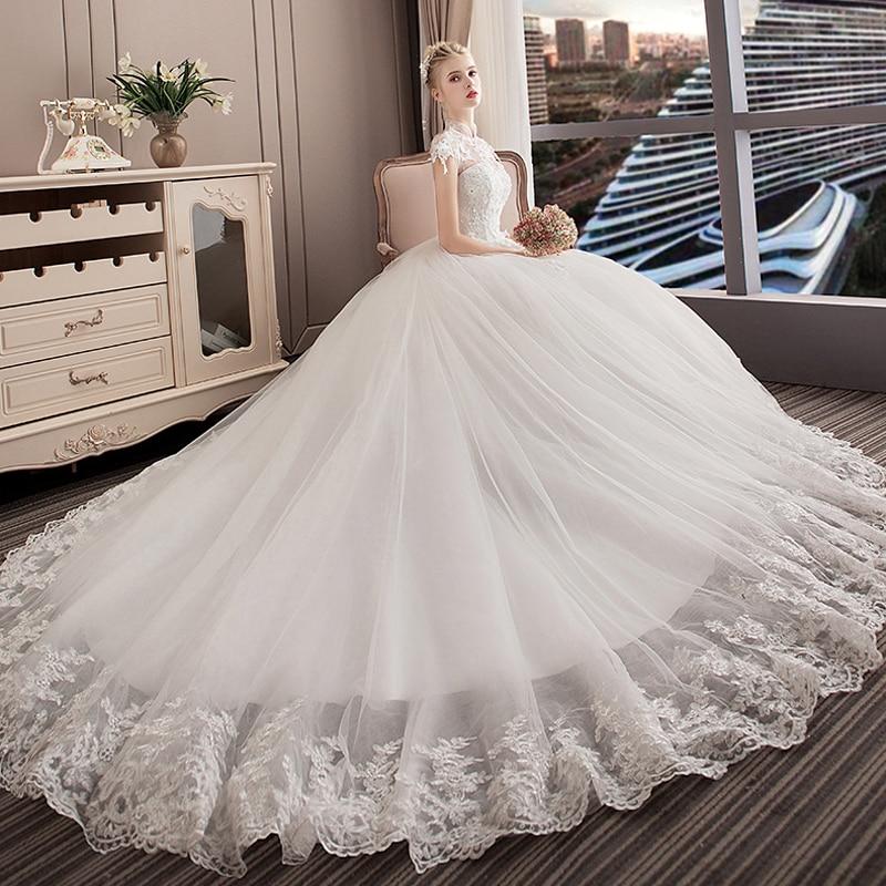 Boat Neck Princess Wedding Dress 2019 Luxury Cathedral Train Woman Dress Lace Short Sleeves Celebrity Ball Gown Vestido De Noiva