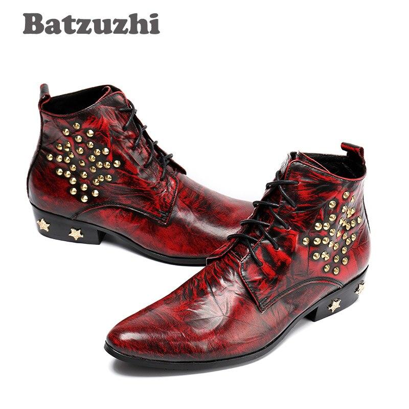 Talons Hombre Bottes Inside Rouge Avec Zapatos Fur Partie Pointu Hommes En leather Inside Vin Hiver HommesEu38 winter Boot Mode Batzuzhi Étoiles 46 Cuir kXwP08nO