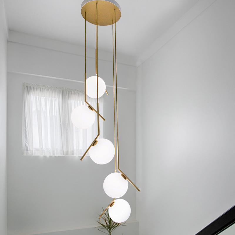 Modern long staircase lights lighting creative villa living room lamp magic bean decoration glass ball dining pendant lightModern long staircase lights lighting creative villa living room lamp magic bean decoration glass ball dining pendant light