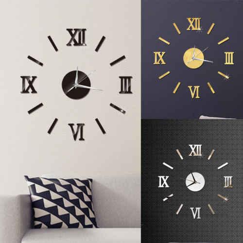 Cyfrowy zegar ścienny diy Modern Art akrylowe lustro 3D naklejki dekoracje do domowego biura wyjątkowy prezent