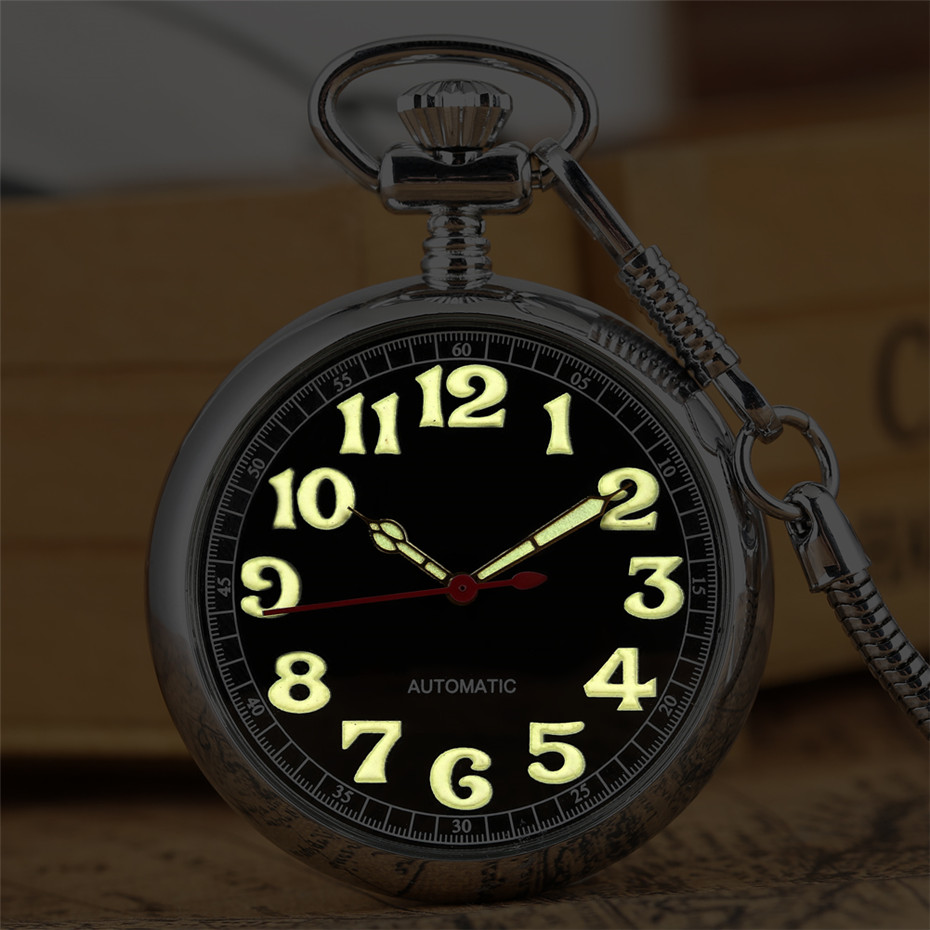 Luminous Arabic Numerals Display Mechanical Self Winding Pocket Watch Exquisite Silver Retro Pendant Clock With 30 Cm Fob Pocket