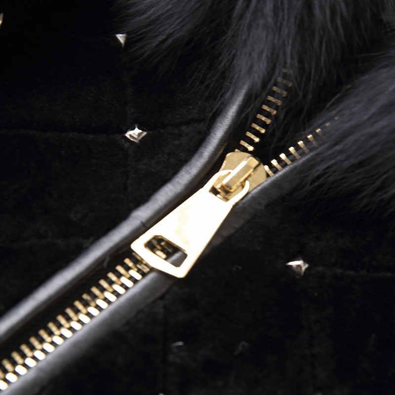 AYUNSUE 2019 новые оригинальные пальто из овечий шерсти с натуральный Лисий меховой воротник с капюшоном зимняя куртка Для женщин шерстяное пальто из натурального меха, женские 17005