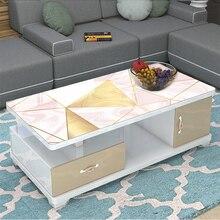 European high grade custom tablecloth soft glass PVC printed waterproof Geometric marble pattern 3D party table mat