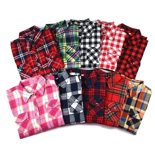 711557eb04 Plus Size M-5XL 2019 Mulheres Primavera Moda Casual Lapela Bolsos Duplos  Blusa Camisa Xadrez