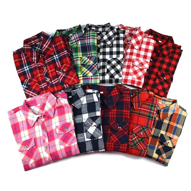 Plus Size M 5XL 2019 Spring Women Fashion Casual Lapel Double Pockets Blouse Plaid Shirt Flannel