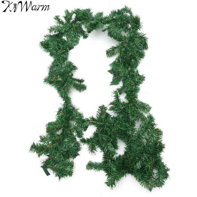 kiwarm 9ft 270cm artificial decorated green christmas garland wreath rattan ornaments for home party christmas hanging - Green Christmas Garland