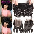 2016 Bob Trends Short Peruvian Wet And Curly Human Hair With Closure Aunty Fummi Bouncy Loose Curly Virgin Hair Weave 4pcs Lot