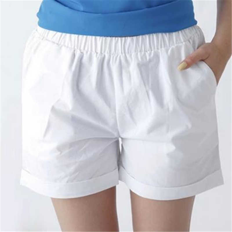Female Plus Size Summer Mid Elastic Waist Solid Straight Pleated 100% Cotton Breathable Shorts Woman Oversized Sweat Shorts