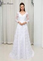 C V European Women Long Sleeve Elegant Lace Wedding Dress A Line Custom Made Plus Size