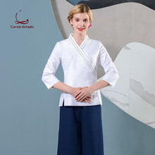 SPA technician health club spring and summer work clothes set cotton and linen beauty salon plastic hotel front desk