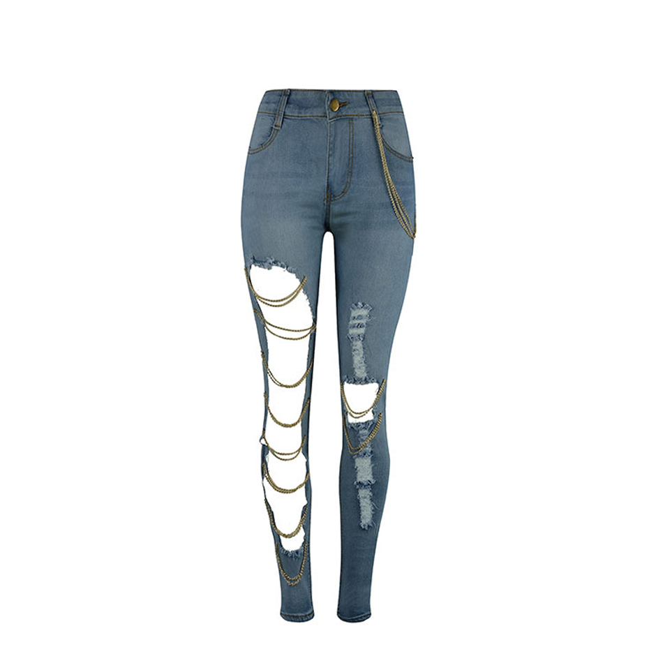 2017 Pencil Pants big ripped Hole jeans woman skinny ripped jeans for women  jeans denim Chain Decoration denim Trousers