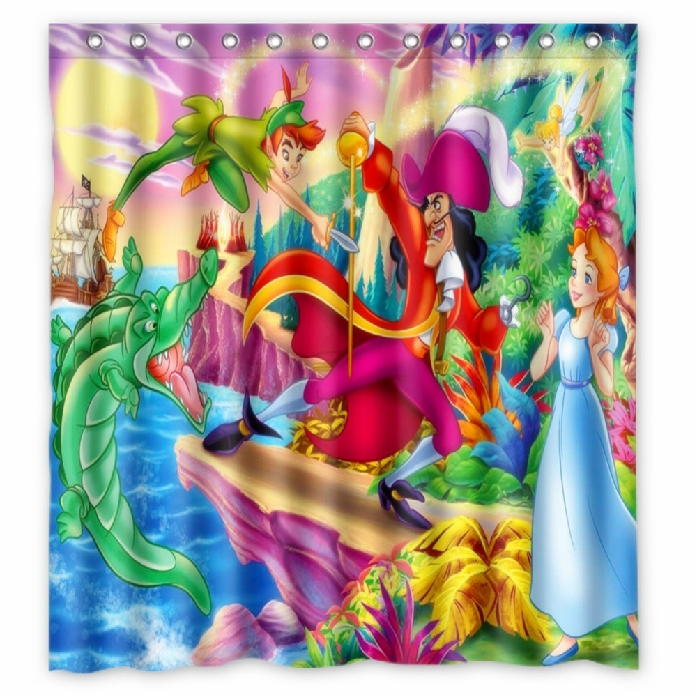 Vixm Home Peter Pan Fabric Shower Curtains Waterproof Mildew Proof Bathroom With Hooks 66x72 Inch