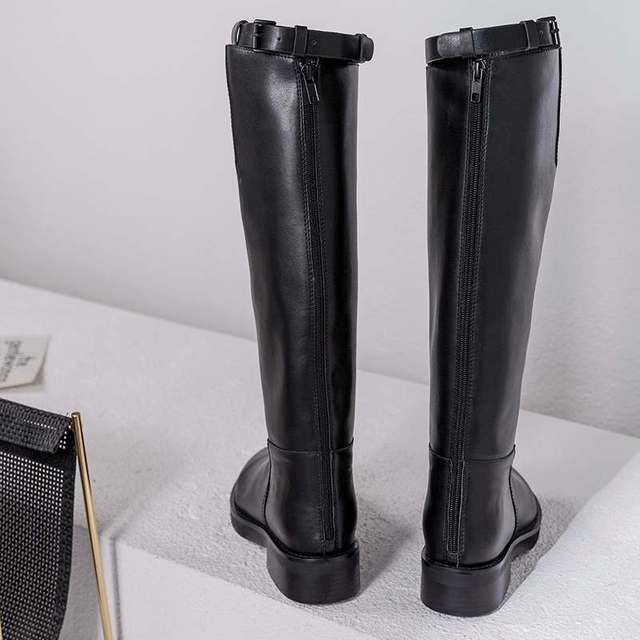 Krazing Pot hot sale high quality round toe riding equestrian boots zipper buckle straps concise designer thigh high boots L13 2