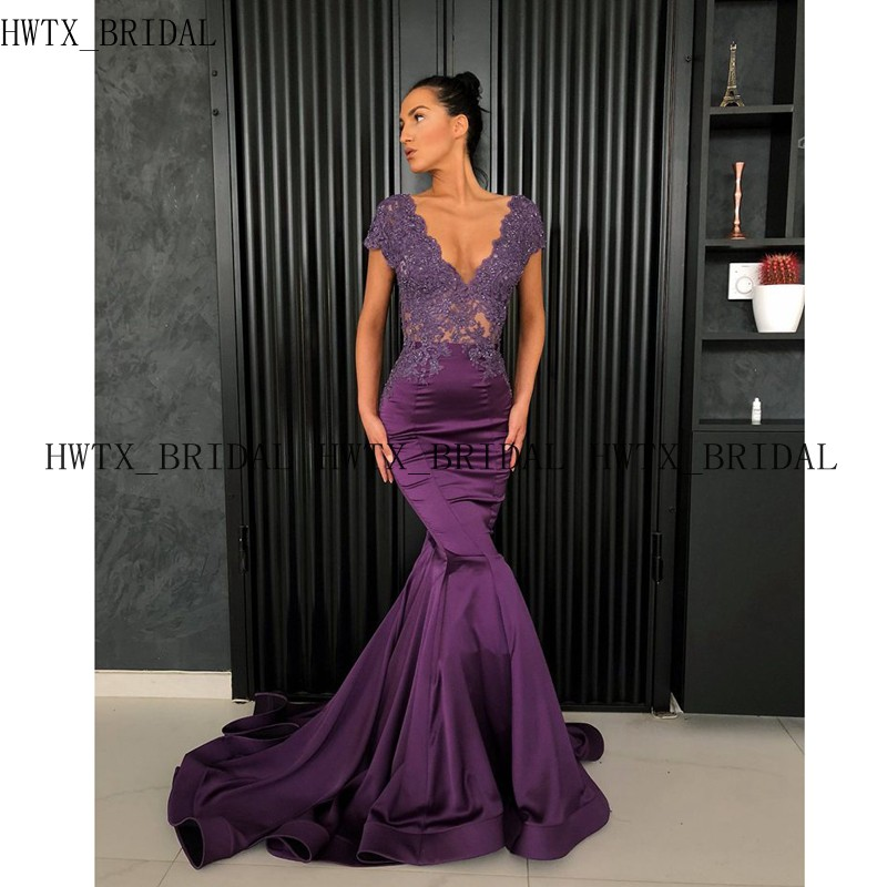 Purple Long   Prom     Dresses   2019 Sexy Mermaid V Neck Short Sleeve Illusion Beading Lace Satin Arabic African Formal Evening Gown
