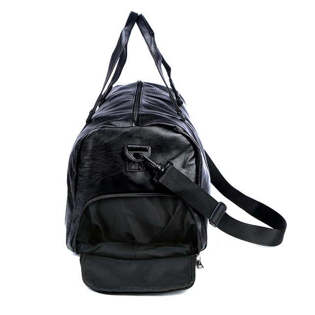 Pu Leather Gym Male Bag Top Female Sport Shoe Bag for Women Fitness Over the Shoulder Yoga Bag Travel Handbags Black Red XA567WD
