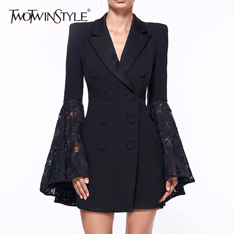 TWOTWINSTYLE Lace Coat For Women Hollow Out Flare Sleeve V Neck Double Breadsted Tunic Plus Size Blazer 2020 Spring Fashion New