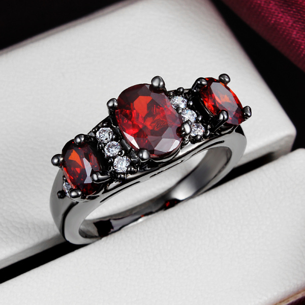 Red And Black Diamond Wedding Ring