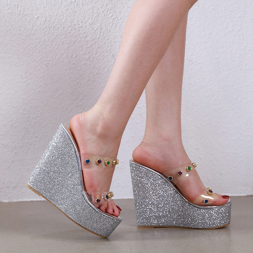 Odinokov Summer 2019 Platform Sandals Clear Heels Wedge Sandals Pvc High Heels Shoes Rhinestone Crystal Women Sandals