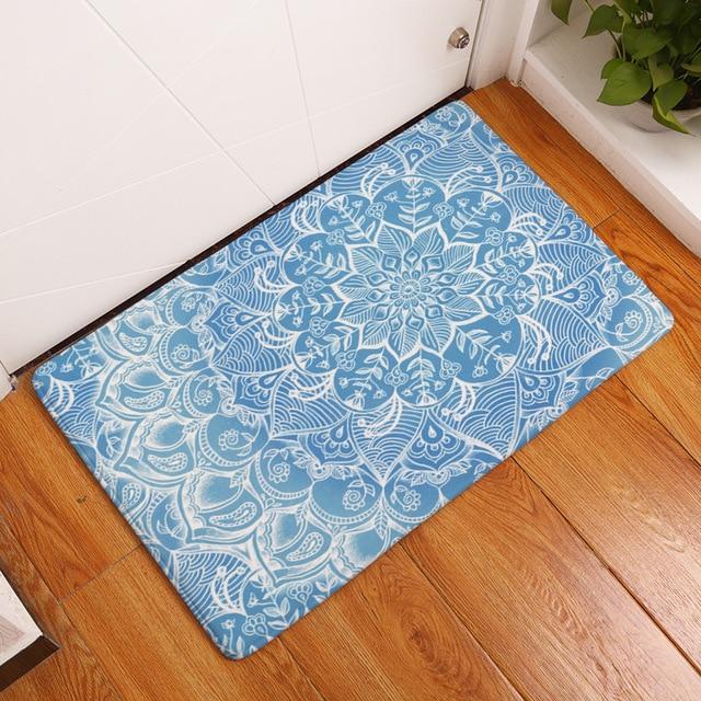 Мандала цветочный печатных пола carpet коврик 40x60 cm non-slip коврик для кухни ванной фланель дома вход добро пожаловать ковер декор