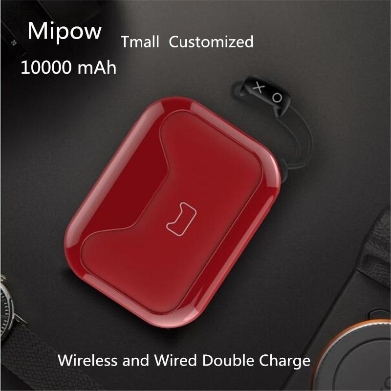 Mipow QI Sans Fil Chargeur batterie externe 10000 mah Portable 5 V 2A Double USB Externe chargeur de batterie Portable Pour iphone X 8 Xiaomi Huawei