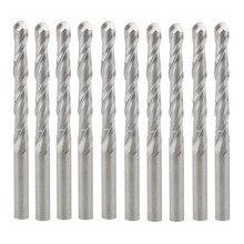 10pcs Double Flute Solid Carbide Spiral Cutter 3.175 x 22 mm CNC Router