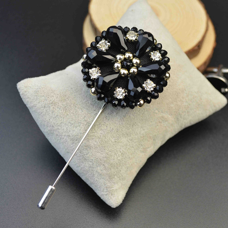 Mdiger Men Exquisite Lapel Pins Beaded Flower Brooches ...