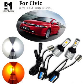 Shinman For Honda civic car turn signal PY21W LED double color DRL&Front Turn Signals all in one фото