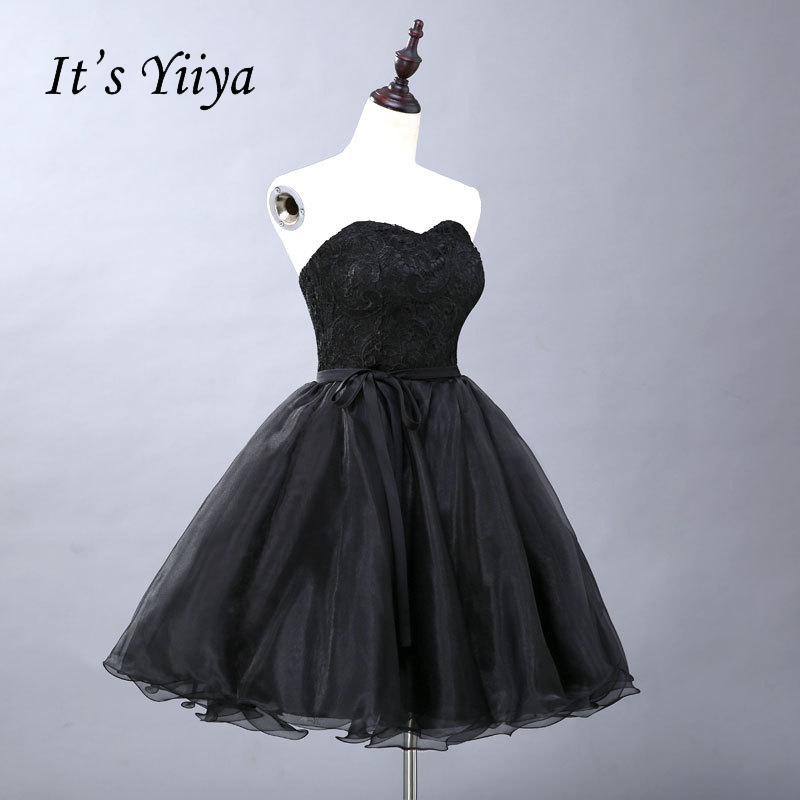 It's YiiYa Popular Sleeveless Strapless   Cocktail     Dresses   Lace Up Simple Flower Pattern Luxury Bow Sashes Little Black   Dress   L054
