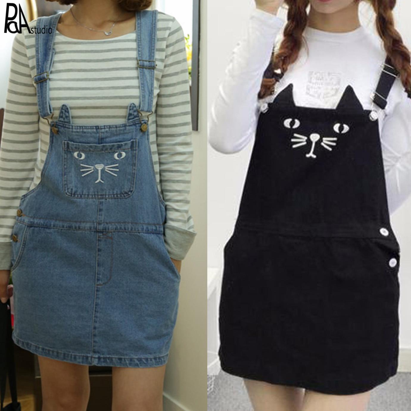 9794bd6db8 Lolita Soft Girl Kawaii Cartoon Embroidery Cat Bear Print Buckle Adjust  Strap Overall Denim Dress Plus Size Suspender Saias 4XL-in Dresses from  Women s ...