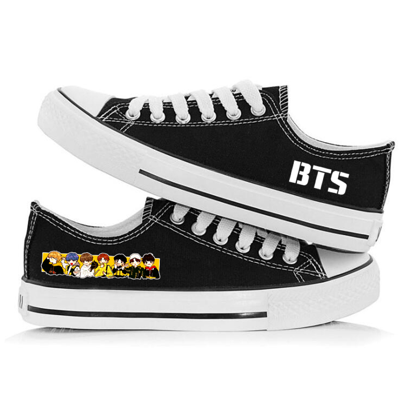 Kpop BTS Shoes Canvas Flat Sneaker Shoes Boy Girl Casual Printing Shoes