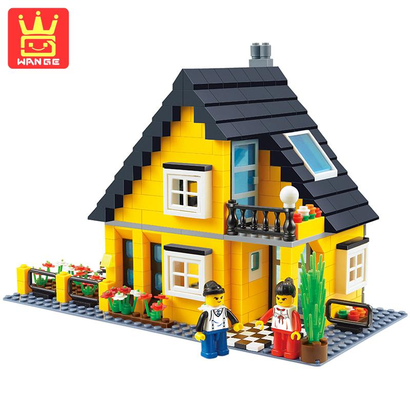 WANGE Bungalow Villa Block Structure Learning Building Bricks Sets 458 Pcs 2017 Classic Gift DIY Toys For Kids Birthday sol bungalow