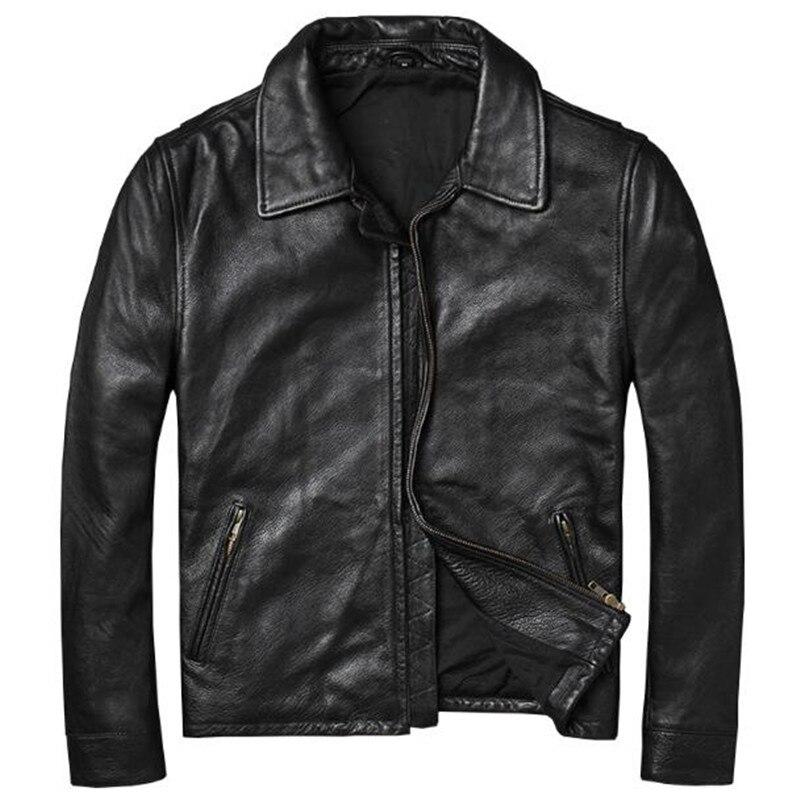 Retro Genuine Leather Jacket Coat Vintage 100% Sheepskin Suede Real Black Moto chaqueta cuero hombre Mens clothing Plus Size