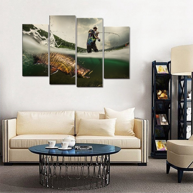 Fishing Picture Big Fish Poster Wall Art For Living Room Canvas